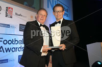 Press Eye - Belfast - Northern Ireland - 13th May 2019 . Northern Ireland Football Awards at the Crowne Plaza Hotel, Belfast. . Photo by Declan Roughan / Press Eye.. International Personality of the Year Award . David Kernohan from Reavey and Co Solicitors presents Gerry Armstrong on behalf of Craig Cathcart with the International Personality of the Year Award .