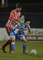 Presseye.com 20th  December  2014. Danske Bank Irish premier league match between Coleraine and Warrenpoint town at Ballycastle road Coleraiane.. Colleraines Neil McCafferty   in action with Warrenpoints Johnny Breen. Photograph:Stephen Hamilton