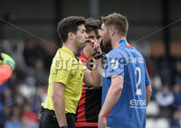 . Danske Bank Premiership Play-Off, Seaview, Belfast 14/4/2018 . Crusaders vs Linfield. Mandatory Credit ©INPHO/Stephen Hamilton. Referee Ian McNabb blows the whistle in Mark Haugheys face