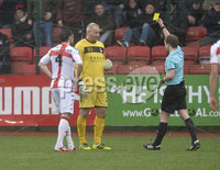 Danske Bank Premiership, Solitude Belfast, Co Antrim 10/03/2018. Cliftonville  vs Crusaders . Crusaders Brian Jensen gets booked after kicking a Xliftonville player and giving away a penalty. Mandatory Credit ©INPHO/Stephen Hamilton.