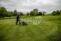 PressEye - Belfast - Northern Ireland - 17th May 2020. Chris Moran, Course Manager of Banbridge Golf Club in County Down Northern Ireland, prepares the course for play.. Local golfers are hopeful that local golf will be included in the first stage of the Northern Ireland Executive\'s  five-stage plan for easing the coronavirus lockdown..  . Picture: Philip Magowan / PressEye