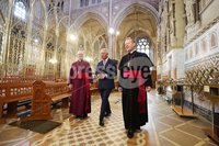 Press Eye - Belfast - Northern Ireland - 22nd May 2019 - . The Prince of Wales is pictured at St Patricks Roman Catholic Church in Armagh with Archbishop Eamon Martin and Archbishop Richard Clarke during their 2 day visit to Northern Ireland.  The iconic twin-spired cathedral underwent a major restoration in 2003.. Photo by Kelvin Boyes / Press Eye..
