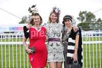 Press Eye - Belfast - Northern Ireland - 22nd June 2019 - . Summer Festival Of Racing Day 2 at Down Royal Racecourse.. Amanda Hayte, Kerry Esmay and Michelle Bradley pictured at Down Royal Racecourse.. Photo by Kelvin Boyes / Press Eye.