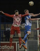 Presseye.com 20th  December  2014. Danske Bank Irish premier league match between Coleraine and Warrenpoint town at Ballycastle road Coleraiane.. Colleraines Aaron Canning   in action with Warrenpoints Johnny Breen. Photograph:Stephen Hamilton