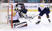 Press Eye - Belfast, Northern Ireland - 04th October 2019 - Photo by William Cherry/Presseye. Belfast Giants\' Brian Ward with Guildford Flames\' Travis Fullerton during Friday nights EIHL game at the SSE Arena, Belfast.   Photo by William Cherry/Presseye