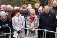 Wednesday 8th November 2017. . Picture by Press Eye.com. . Members of the general public bow their heads in Remembrance during the Service at the unveiling and dedication of the memorial for the victims of the 1987 Enniskillen Poppy Day Bomb.