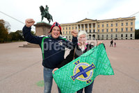 Press Eye - Belfast -  Northern Ireland - 07th October 2017 - Photo by William Cherry/Presseye. Northern Ireland fans Nigel and Debbie Moses from Crumlin pictured at the Royal Palace in Oslo ahead of Sundays World Cup Qualifier against Norway at the Ullevaal Stadion, Oslo.   Photo by William Cherry/Presseye