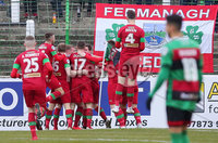 Danske Bank Premiership at the Oval in Belfast . 07.03.2020. Glentoran Vs Cliftonville. Cliftonville celebrate after scoring to make it 0-1.. Mandatory Credit INPHO/Jonathan Porter