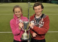 ©Russell Pritchard / Presseye  - 9th June 2012. Tennis : Ulster Senior Open at Belfast Boat Club.. Mixed Doubles winners Matthew McClurg and Katherine Hill. ©Russell Pritchard / Presseye