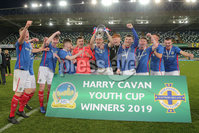 PressEye - Belfast - Northern Ireland - 06th May 2019. Harry Cavan Youth Cup Final. Linfield Rangers vs St. Oliver Plunkett. Pictured: Linfield Rangers celebrate.. Picture: Philip Magowan / PressEye