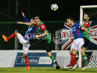 Danske Bank Premiership, The Oval, Belfast 8/10/2018. Glentoran vs Linfield. Linfield\'s Jamie Mulgrew clears the ball from his box. . Mandatory Credit INPHO/Jonathan Porter