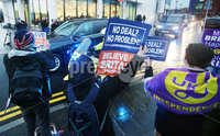 Press Eye - Belfast - Northern Ireland - 5th February 2019. British Prime Minister visit Belfast as part of her two days in Northern Ireland meeting local politicians and business people to discuss the ongoing issues with Brexit and the UK leaving the European Union.. Pro-brexit supporters pictured at the Allstate offices in Belfast as the Prime Minister leaves after meeting with local business leaders. .  . Picture by Jonathan Porter/PressEye