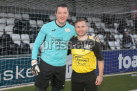 Press Eye - Charity Football Match -  Cystic Fibrosis All Stars vs Limestone United - Seaview - 9th February 2020. Photograph by Declan Roughan. Cystic Fibrosis All Stars ShaneJohn Finucane and Carl Frampton.