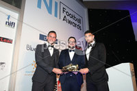 Press Eye - Belfast - Northern Ireland - 13th May 2019 . Northern Ireland Football Awards at the Crowne Plaza Hotel, Belfast. . Photo by Declan Roughan / Press Eye.. Top Goal Scorer . NIFWA Chairman Keith Bailie with joint winners Linfield striker Andrew Waterworth and Cliftonvilles Joe Gormely .