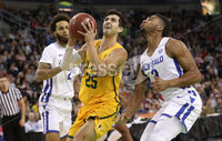 Press Eye - Belfast -  Northern Ireland - 01st December 2018 - Photo by William Cherry/Presseye. Buffalo\'s Jayvon Graves with San Francisco\'s Jordan Ratinho during Saturday evenings Goliath Championship game of the Basketball Hall of Fame Belfast Classic at the SSE Arena, Belfast.