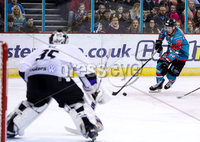 Press Eye - Belfast -  Northern Ireland - 10th March 2018 - Photo by William Cherry/Presseye. Belfast Giants Sebastien Sylvestre with Braehead Clan\'s Ryan Nie during Saturday evenings Elite Ice Hockey League game at the SSE Arena, Belfast.