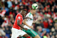 Press Eye - Belfast -  Northern Ireland - 12th November 2017 - Photo by William Cherry/Presseye. Northern Ireland\'s Gareth McAuley with Switzerland\'s Denis Zakaria during Sunday nights World Cup Play Off 2nd leg game at St. Jakob-Park, Basel.