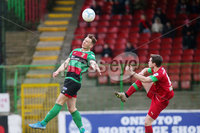 Danske Bank Premiership at the Oval in Belfast . 07.03.2020. Glentoran Vs Cliftonville. Glentorans Seanan Clucas with Cliftonvilles Michael McCrudden . Mandatory Credit INPHO/Jonathan Porter