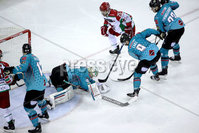 Press Eye - Belfast, Northern Ireland - 01st February 2020 - Photo by William Cherry/Presseye. Belfast Giants\' Shane Owen with Cardiff Devils\' Blair Riley during Sunday afternoons Elite Ice Hockey League game at the SSE Arena, Belfast.   Photo by William Cherry/Presseye