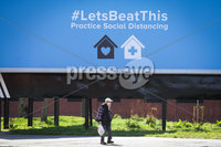 Press Eye - Belfast - Northern Ireland - 6th April 2020 -  . General view of a poster on the Ormeau road, south Belfast referring to Practicing Social Distancing.. Photo by Kelvin Boyes / Press Eye..  .