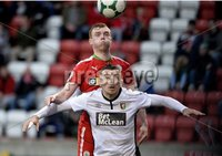 . Danske Bank Premiership, Solitude, Belfast 3/11/2018. Cliftonville vs Glentoran. Cliftonville\'s Ross Lavery  in action with Glentorans Robbie McDaid. Mandatory Credit INPHO/Stephen Hamilton
