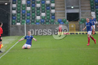 PressEye - Belfast - Northern Ireland - 06th May 2019. Harry Cavan Youth Cup Final. Linfield Rangers vs St. Oliver Plunkett. Pictured: Linfield Rangers\' Jake Corbett celebrates his goal.. Picture: Philip Magowan / PressEye
