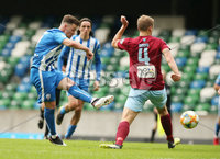 Press Eye-Belfast-Northern Ireland -27th July 2020. Sadlers\'s Peaky  Blinder Irish Cup Semi Final, National Stadium at Windsor Park, Belfast. . 27/7/2020. Ballymena United FC v Coleraine FC. Ballymena United\'s Johnny Addis and Ben Doherty  of Coleraine.. Mandatory Credit  Brian Little/PressEye