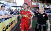 12th May 2018. Europa league play off final between Cliftonville and Glentoran at Solitude in Belfast.. Cliftonville\'s Joe Gormley is congratulated at the end of the game by the home fans. Mandatory Credit: Inpho/Stephen Hamilton