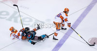 Press Eye - Belfast -  Northern Ireland - 06th January 2019 - Photo by William Cherry/Presseye. Belfast Giants\' Lewis Hook with Sheffield Steelers\' Josh Pitt during Sunday afternoons Elite Ice Hockey League game at the SSE Arena, Belfast.    Photo by William Cherry/Presseye