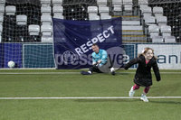 Press Eye - Charity Football Match -  Cystic Fibrosis All Stars vs Limestone United - Seaview - 9th February 2020. Photograph by Declan Roughan. Stella Magee, aged 5, scores a penalty against John Finucane.