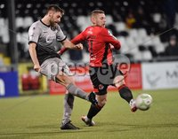 3/12/2019. Bet McLean league cup semi final between Crusaders and Institute at Seaview.. Crusaders David Cushley with Niall Grace . Mandatory Credit Inpho/Stephen Hamilton