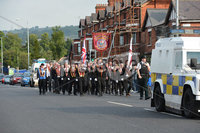 ©Press Eye Ltd Northern Ireland -11th August   2012. Members of the Apprentice boys of Derry make their way down the Crumlin road in Belfast past the shops at Ardoyne on way to the main parade which will be held in County Londonderry.. Mandatory Credit - Picture by Presseye.com.