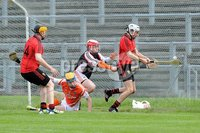 Ulster GAA Minor Hurling Championship Semi Final - Armagh V Down - 1 July 2012. Copyright Presseye.com. Mandatory Credit Declan Roughan / Presseye. Downs\'s Eoghan Sands puts the ball into an empty  Armagh net
