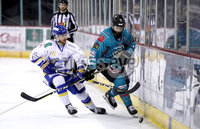 Press Eye - Belfast, Northern Ireland - 06th March 2020 - Photo by William Cherry/Presseye. Belfast Giants\' Elgin Pearce with Fife Flyers during Friday nights Elite Ice Hockey League game at the SSE Arena, Belfast.   Photo by William Cherry/Presseye
