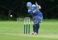 Mandatory Credit: Rowland White/Presseye. Cricket: Irish Senior Cup. Teams: CSNI (light blue) v Derriaghy (dark blue). Venue: Stormont. Date: 9th June 2012. Caption: Andrew Cowden, CSNI