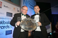 Press Eye - Belfast - Northern Ireland - 13th May 2019 . Northern Ireland Football Awards at the Crowne Plaza Hotel, Belfast. . Photo by Declan Roughan / Press Eye.. Jimmy Dubois Non-Senior Club of the Year. Timothy Dubois presents manager Paul Trainor from Crumlin Star with the aw