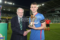 PressEye - Belfast - Northern Ireland - 06th May 2019. Harry Cavan Youth Cup Final. Linfield Rangers vs St. Oliver Plunkett. Pictured: Linfield Rangers Captian, Jake Corbett.. Picture: Philip Magowan / PressEye