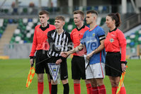 PressEye - Belfast - Northern Ireland - 06th May 2019. Harry Cavan Youth Cup Final. Linfield Rangers vs St. Oliver Plunkett. Pictured: Linfield Rangers\'s Jake Corbett and Oliver Plunkett\'s Sean McCullough with match officials.. Picture: Philip Magowan / PressEye