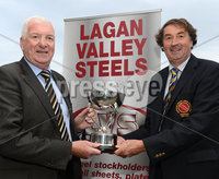 Mandatory Credit: Rowland White/Presseye. Cricket: Lagan Valley Steels Twenty20 Cup Final. Teams: Instonians 9blue) v Waringstown (red). Venue: Belmont. Date: 6th July 2012. Caption: Tommy Anderson, MD of Lagan Valley Steels, Sponsor of the Twenty20 competition with Chris Harte, President of the Northern Cricket Union.