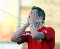 Press Eye Koprivnica(Croatia) 19.07.2012 . NK Slaven Belupo-FC Portdown Uefa Europa League qualifying second leg. Richard Lecky FC Portdown react during match. Picture by  Aleksandar Djorovic / Press Eye