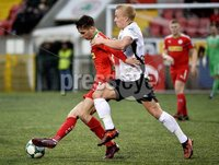 . Danske Bank Premiership, Solitude, Belfast 3/11/2018. Cliftonville vs Glentoran. Cliftonville\'s Jay Donnelly  in action with Glentorans Conor Pepper. Mandatory Credit INPHO/Stephen Hamilton