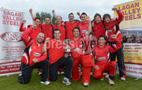 Mandatory Credit: Rowland White/Presseye. Cricket: Lagan Valley Steels Twenty20 Cup Final. Teams: Instonians 9blue) v Waringstown (red). Venue: Belmont. Date: 6th July 2012. Caption: Waringstown celebrate with the cup