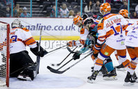 Press Eye - Belfast -  Northern Ireland - 06th January 2019 - Photo by William Cherry/Presseye. Belfast Giants\' Kyle Baun with Sheffield Steelers\' Matt Climie during Sunday afternoons Elite Ice Hockey League game at the SSE Arena, Belfast.    Photo by William Cherry/Presseye