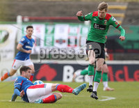Danske Bank Premiership, The Oval, Belfast, Northern Ireland. 1/5/2021. Glentoran vs Linfield FC . Glentoran Rhys Marshall  and Linfield Mark Haughey  . Mandatory Credit INPHO/Presseye/Brian Little