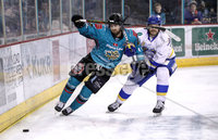 Press Eye - Belfast, Northern Ireland - 06th March 2020 - Photo by William Cherry/Presseye. Belfast Giants\' Lewis Hook with Fife Flyers during Friday nights Elite Ice Hockey League game at the SSE Arena, Belfast.   Photo by William Cherry/Presseye