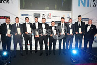 Press Eye - Belfast - Northern Ireland - 13th May 2019 . Northern Ireland Football Awards at the Crowne Plaza Hotel, Belfast. . Photo by Declan Roughan / Press Eye.. Uhlsport Premiership Team of the Year. Bryan Hutchinson of Uhlsport with the best players from this season. .