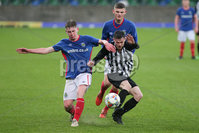 PressEye - Belfast - Northern Ireland - 06th May 2019. Harry Cavan Youth Cup Final. Linfield Rangers vs St. Oliver Plunkett. Pictured: Linfield Rangers\'s Callum McVeigh and Oliver Plunkett\'s Mark Donnelly.. Picture: Philip Magowan / PressEye
