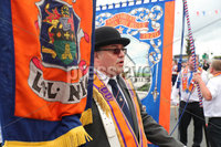 Press Eye - Belfast - Northern Ireland - 12th July 2019 - . General view of the Twelfth of July parade in Holywood, County Down.. Twelfth of July parades are taking place in 18 locations across Northern Ireland.. Tens of thousands of people are expected at the marches, which mark the anniversary of the Battle of the Boyne.. William III - the Dutch-born Protestant better known as William of Orange or King Billy - defeated the Catholic King James II in County Meath in July 1690.. Photo by Kelvin Boyes / Press Eye.