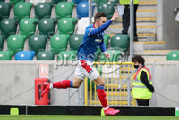 Danske Bank Premiership, National Football Stadium at Windsor Park, Belfast, Northern Ireland 17/10/2020. Linfield vs Carrick Rangers. Linfields Andrew Waterworth celebrates scoring an early goal. Mandatory Credit INPHO/Declan Roughan