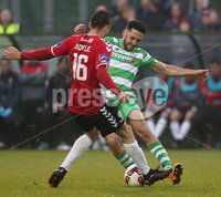 ©/Presseye.com - 19th May 2017.  Press Eye Ltd - Northern Ireland - Airtricity League Premier Division - Derry City V Shamrock Rovers. Derry\'s Nathan Boyle  and Shamrock Rovers\' Roberto Lopes.. Mandatory Credit Photo Lorcan Doherty / Presseye.com